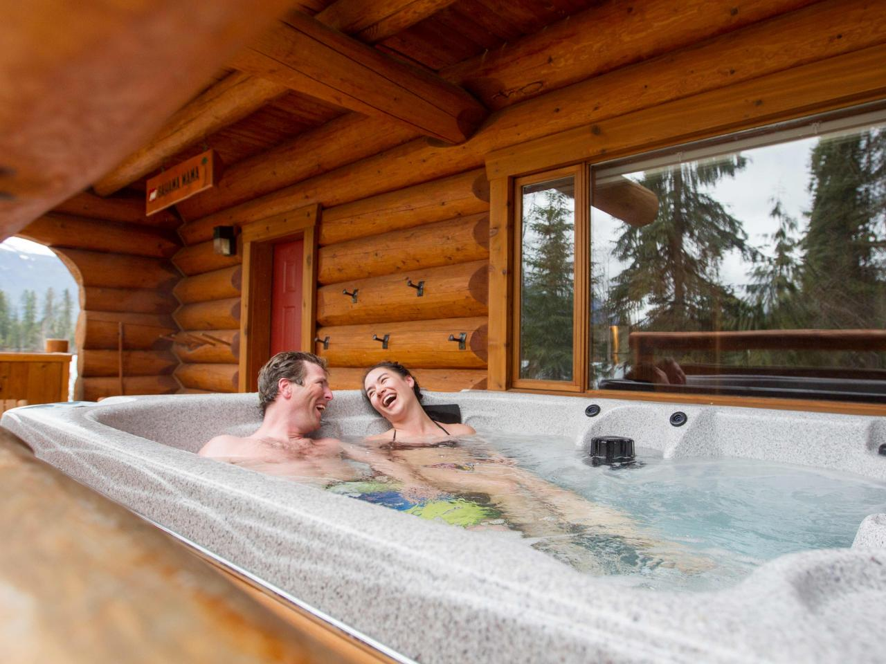 Relax in Hot Tub after epic ski day at Mike Wiegele Heli-skiing resort