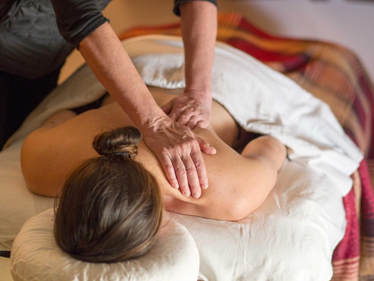 Restorative and sports massage after skiing at Mike Wiegele Heli-ski Resort, BC, Canada