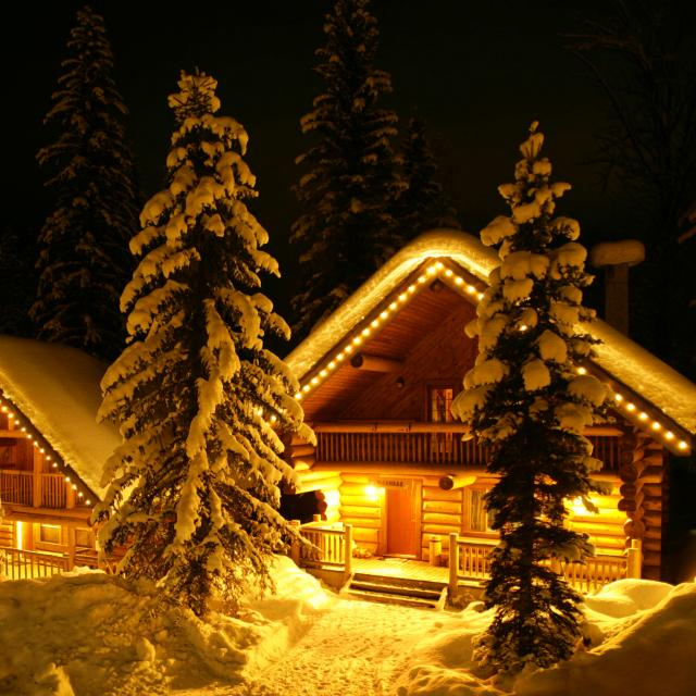 Log Chalet luxury after skiing all day at Mike Wiegele Held-Skiing Resort.